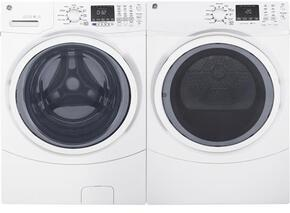 "White Front Load Laundry Pair with GFW450SSKWW 27"" Washer and GFD45ESSKWW Electric Dryer"