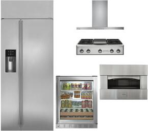 "5-Piece Stainless Steel Kitchen Package with ZISS420DKSS 42"" Side by Side Refrigerator, ZGU364NDPSS 36"" Gas Rangetop, ZV800SJSS 36"" Wall Mount Hood, ZEP30SKSS 30"" Pizza Oven, and ZDBR240HBS 24"" Beverage Center"