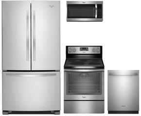 "4-Piece Kitchen Package with WRF535SMBM 36"" French Door Refrigerator, WFE540H0ES 30"" Electric Freestanding Range, WMH32519FS 30"" Over The Range Microwave oven and WDT750SAHZ 24"" Built In Dishwasher in Stainless Steel"