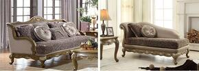 Palmas 606-S-CH 2 Piece Living Room Set with Sofa and Chaise in Pewter Gold Finish