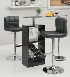 Bar Units and Bar Tables 120451TC 3 PC Bar Table Set with Bar Table + Bar Stools in Black Color