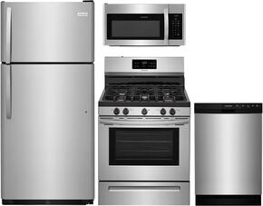 "4-Piece Stainless Steel Kitchen Package with FFTR1821TS 30"" Top Freezer Refrigerator, FFGF3052TS 30"" Freestanding Gas Range, FFMV1645TS 30"" Over the Range Microwave Oven, and FFBD2412SS 24"" Full Console Dishwasher"