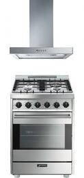 "Smeg Stainless Steel 2-Piece Kitchen Package With C24GGXU 24"" Gas Freestanding Range and KSM24XU 24"" Wall Mount Ventilation Hood"