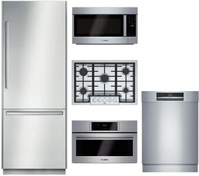 """5-Piece Stainless Steel Outdoor Kitchen Package with B30BB830SS 30"""" Bottom Freezer Refrigerator, NGMP055UC 30"""" Gas Cooktop, HSLP451UC 30"""" Single Wall Oven, HMVP053U 30"""" Over the Range Microwave, and SHE89PW75N 24"""" Dishwasher"""