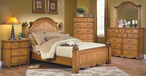 4431WBDMNC Hailey 5 Piece Bedroom Set with California King Poster Bed, Dresser, Mirror, Nightstand and Chest, in Toffee