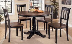 D5801502 Owingsville Round Dining Room Table with Four Side Chairs, Hardwood Solids, Glued and Screwed Corner Block Construction in Two Tone