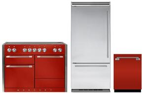 "3-Piece Kitchen Package with AMC48INSCR 48"" Freestanding Electric Range, MP36BF2LS 36"" Counter Depth Bottom Freezer Refrigerator, and AELTTDWSCR 24"" Built In Fully Integrated Dishwasher in Scarlet"