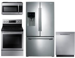 "4 Piece Kitchen Package With NE59J7630SS 30"" Electric Range, ME18H704SFS Over the Range Microwave Oven, RF263BEAESR 36"" French Refrigerator and DW80K5050US 24"" Built In dishwasher In Stainless Steel"