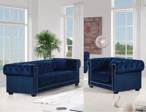 Bowery Collection 6142PCARMKIT1 2-Piece Living Room Sets with Stationary Sofa, and Living Room Chair in Navy