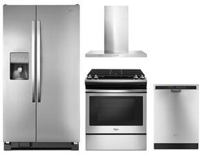 "4-Piece Kitchen Package with WRS325FDAM 36"" Side by Side Refrigerator, WEG515S0FS 30"" Slide-in Gas Range, WVW57UC0FS 30"" Wall Mount Hood and WDF560SAFM 24"" Built in Dishwasher in Stainless Steel"