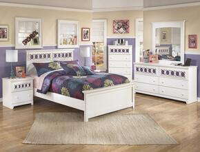 Zayley Full Bedroom Set with Panel Bed, Dresser, Mirror and Nightstand in White