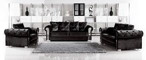 Electra 717684 3 Piece Living Room Set with Sofa + Loveseat and Chair in Black Velvet