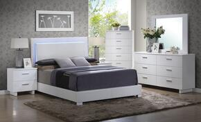 Lorimar 22637EK6PC Bedroom Set with Eastern King Size Bed + Dresser + Mirror + Chest + Nightstand in White Color