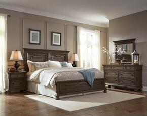 Hamilton S0242707106SET 5 PC Bedroom Set with King Size Panel Bed + Dresser + Mirror + 2 Nightstands in Oak Finish