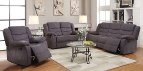 514103PC Jacinta 3 PC Living Room Set with Sofa + Loveseat + Reclinger with Velvet Upholstery in Grey