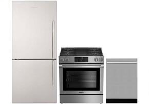 "3-Piece Kitchen Package with BRFB1812SSLN 30"" Counter Depth Bottom Freezer Refrigerator, BGR30420SS 30"" Slide-In Gas Range, and a free DWT57500SS 24"" Built In Fully Integrated Dishwasher in Stainless Steel"
