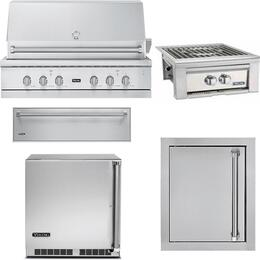 "5-Piece Stainless Steel Outdoor Kitchen Package with VGIQ554241LSS 54"" Liquid Propane Grill, VQGPB5200LSS 20"" Side Burner, VOADS5240SS 24"" Access Door, SD5360 36"" Storage Drawer, and VRUO5240DLSS 24"" Outdoor Refrigerator"