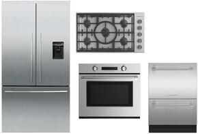 "4 Piece Stainless Steel Kitchen Package With RF201ADUSX5 36"" French Door Refrigerator, OB24SDPX4 24"" Electric Wall Oven, DD24DCTX9 24"" Drawers Dishwasher and CI365DTB1 36"" Gas Cooktop For Free"