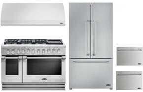 "4 Piece Kitchen Package With RGV2486GDL 48"" Gas Freestanding Range, VS48 48"" Wall Mount Hood, RF201ACJSX1 36"" French Door Refrigerator and two DD24SV2T7 24"" Dishwasher Drawers in Stainless Steel"