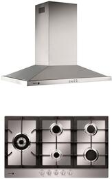 "2 Piece Stainless Steel Kitchen with FA-950STX 34"" Gas Cooktop and 60CFG-36B 36"" Wall Mount Range Hood"