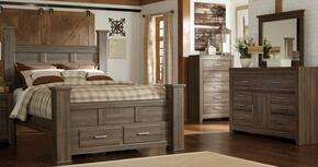 Juararo Queen Bedroom Set with Poster Storage Bed, Dresser and Mirror in Dark Brown