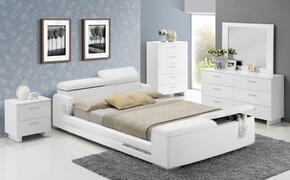 Layla 20677EK5PC Bedroom Set with Eastern King Size Bed + Dresser + Mirror + Chest + Nightstand in White Color