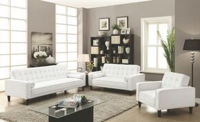 G800 Collection G847SET 3 PC Living Room Set with Sofa Bed + Loveseat Bed + Chair Bed in White PU Leather
