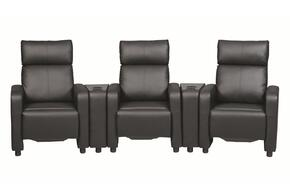 Recliners Collection 60018182 Home Theater Seating Set with 3 Push-Back Recliners and 2 Theater Console Table in Black