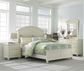 Seabrooke 4471QPBNDM 4-Piece Bedroom Set with Queen Panel Bed, Nightstand, Dresser and Mirror in Cream Finish