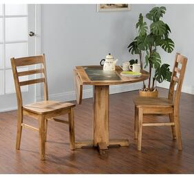 Sedona Collection 1223RODT2C 3-Piece Dining Room Set with Drop Leaf Table and 2 Chairs in Rustic Oak Finish
