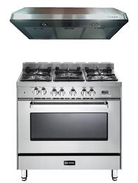 "2-Piece Stainless Steel Kitchen Package with VEFSGE365NSS 36"" Freestanding Dual Fuel Range and VEHOOD3610 36"" Under Cabinet Range Hood"