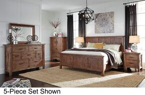 Tamilo California King Bedroom Set with Panel Bed, Dresser, Mirror, 2 Nightstands and Chest in Greyish Brown Finish