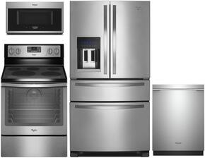 "4-Piece Kitchen Package with WRX735SDBM 36"" French Door Refrigerator, WFE540H0ES 30"" Electric Freestanding Range , WMH32519FS 30"" Over The Range Microwave oven and WDT720PADM 24"" Built in Dishwasher in Stainless Steel"