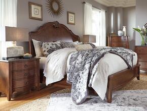 Balinder King Bedroom Set with Sleigh Bed and Nightstand in Medium Brown