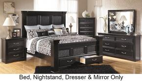 Cavallino B29170158166S99313592 4-Piece Bedroom Set with King Size Mansion Poster Bed,  Dresser, Mirror and Nightstand in Deep Black