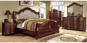 Bellavista Collection CM7350HQBDMCN 5-Piece Bedroom Set with Queen Bed, Dresser, Mirror, Chest, and Nightstand in Rustic Natural Tone Finish
