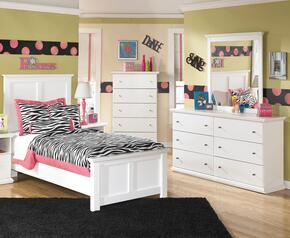 Melton Collection Full Bedroom Set with Panel Bed, Dresser, Mirror and Chest in White