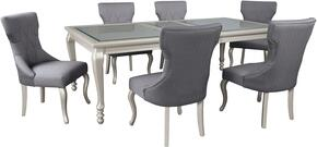 Bess Collection 7-Piece Dining Room Set with Rectangular Dining Table and 6 Side Chairs in Silver