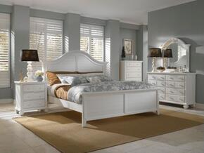 Attic Heirlooms Collection 5 Piece Bedroom Set With California King Size Panel Bed + 2 Nightstands + Dresser + Mirror: White