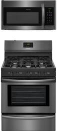 "2-Piece Black Stainless Steel Kitchen Package with FFGF3052TD 30"" Freestanding Gas Range and FFMV1645TD 30"" Over-the-Range Microwave"