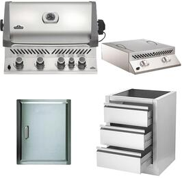 "4-Piece Stainless Steel Outdoor Kitchen Package with BIP500RBPSS1 31"" Liquid Propane Grill, BISZ300PFT 20"" Side Burner, N3700071 13"" Single Access Door, and IM3DC 24"" Storage Drawer"