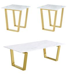 Cameron Collection 2123PCRC2SEKIT1 3-Piece Living Room Table Sets with Coffee Table, and 2x End Table in Rich Gold