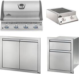 """4-Piece Stainless Steel Outdoor Package with BILEX485PSS1 29"""" Liquid Propane Grill, Side Burner, Access Door, and Storage Drawers"""