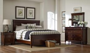 Aryell 4906QPBNDM 4-Piece Bedroom Set with Queen Panel Bed, Nightstand, Dresser and Mirror in Autumn Cherry Finish