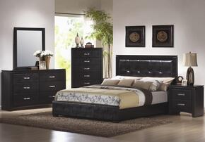 Dylan Collection 201401KESET 5 PC Bedroom Set with Eastern King Size Panel Bed + Dresser + Mirror + Chest + Nightstand in Black Finish