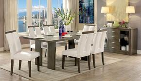 Luminar I Collection CM3559GYT6SCSV 8-Piece Dining Room Set with Rectangular Table, 6 Side Chairs and Server in Grey Finish