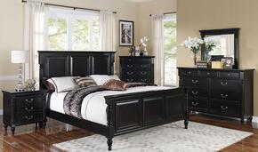 00222WBDMNC Martinique 5 Piece Bedroom Set with California King Bed, Dresser, Mirror, Nightstand and Chest, in Rubbed Black