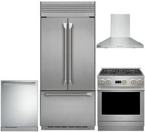 "4-Piece Professional Stainless Steel Kitchen Package with ZIPP360NHSS 36"" French Door Refrigerator, ZDP304NPSS 30"" Dual Fuel (Nautral Gas) Range, ZV30HSRSS 30"" Range Hood and ZDT915SPJSS 24"" Fully Integrated Dishwasher"