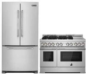 """2-Piece Kitchen Package with JFC2089BEP 36"""" French Door Refrigerator and JGRP548WP 48"""" Freestanding Gas Range in Stainless Steel"""
