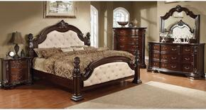 Monte Vista I Collection CM7296LACKDMCN 5-Piece Bedroom Set with California King Bed, Dresser, Mirror, Chest and Nightstand in Brown Cherry Finish